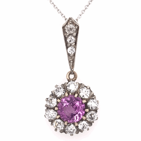"Closeup photo of Platinum topped 14K Yellow Gold Edwardian 1.03ct Round Pink Sapphire & .75tcw Diamond Pendant Necklace 2.6g, 16"" Chain"