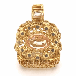 "Closeup photo of 22K Yellow Gold Stamp Pendant Citrine & Peach Stone 4.1g, 7/8"" Tall"