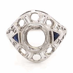 Closeup photo of 14K White Gold Art Deco Semimount Ring 2 Sapphires 3.2g, size 7.5
