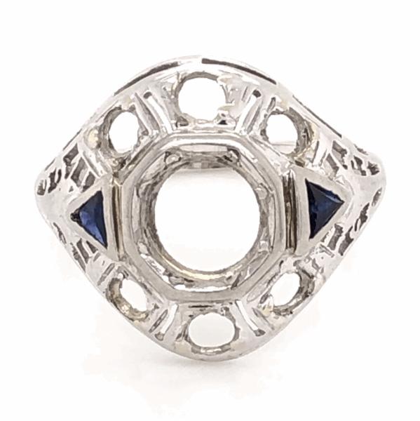 Closeup photo of 14K White Gold Art Deco Semimount Ring 2 Sapphires 3.2g, size 7.5