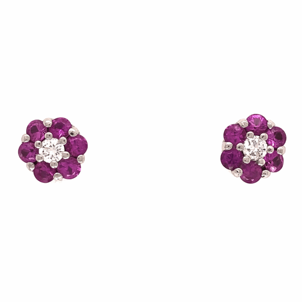 Closeup photo of 18K White Gold Cluster Stud Earrings Diamonds Pink Sapphires