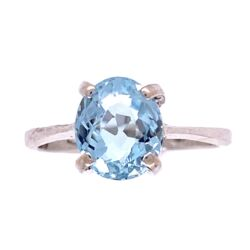 Closeup photo of Classic Oval Aquamarine Solitaire Ring, size 5