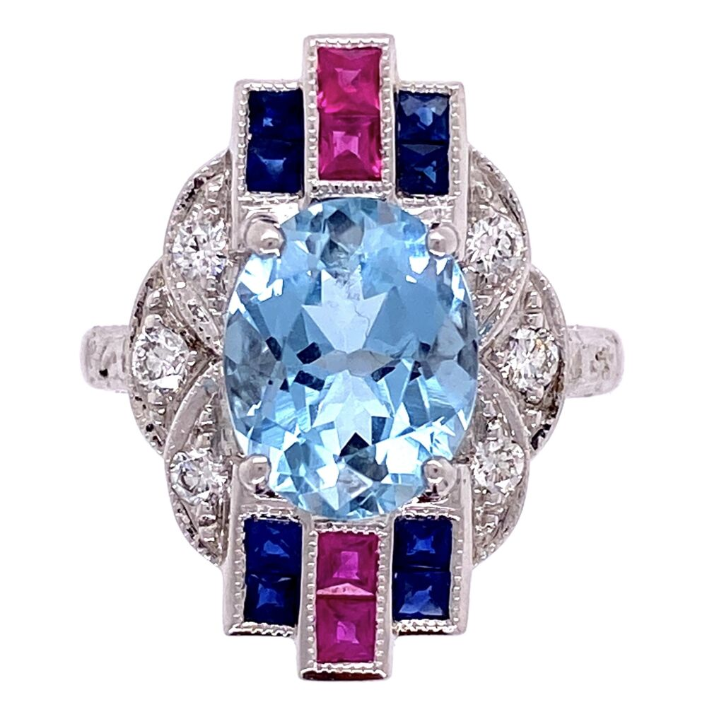 18K White Gold 2.53ct Oval Aquamarine Ring with .20tcw diamonds and .65tcw Sapphire/Ruby