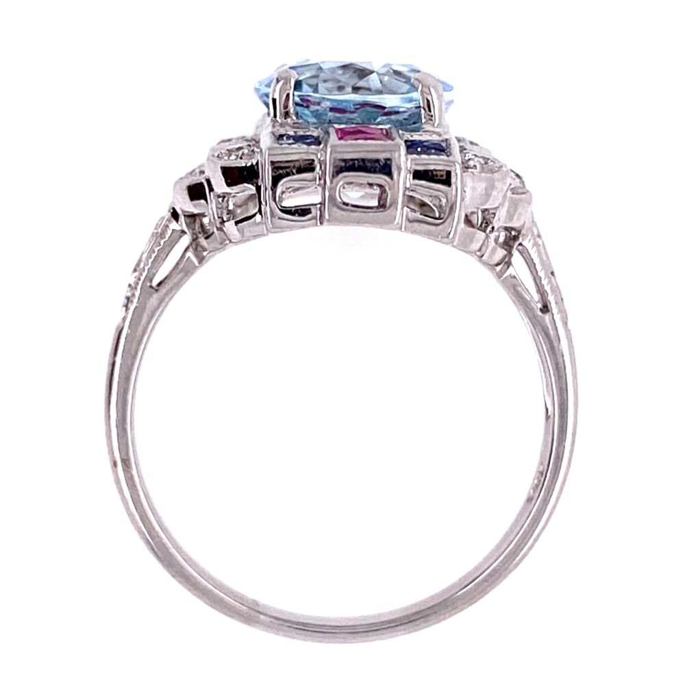 Image 2 for 18K White Gold 2.53ct Oval Aquamarine Ring with .20tcw diamonds and .65tcw Sapphire/Ruby