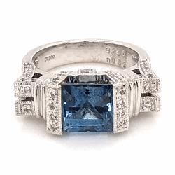 Closeup photo of Platinum Ring 2.46ct Square Deep Aquamarine GIA with .52tcw diamonds