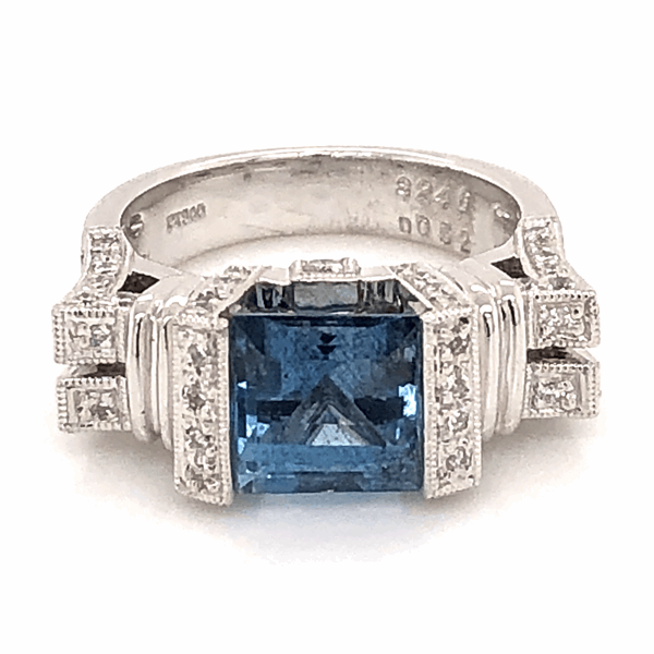 Closeup photo of Platinum Ring 2.46ct Square Deep Aquamarine GIA with .52tcw diamonds
