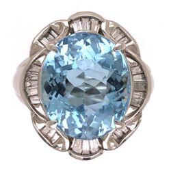 Closeup photo of Platinum Oval 7.20ct Aquamarine Ring with .47tcw diamond c1950