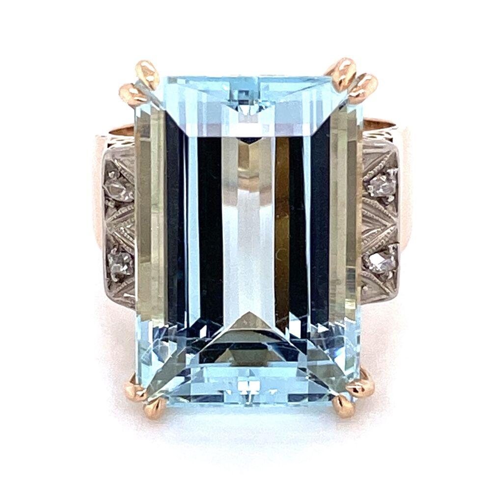 Image 2 for 18K Rose Gold and Platinum Retro 13ct Emerald Cut Aquamarine Ring .05tw diamonds