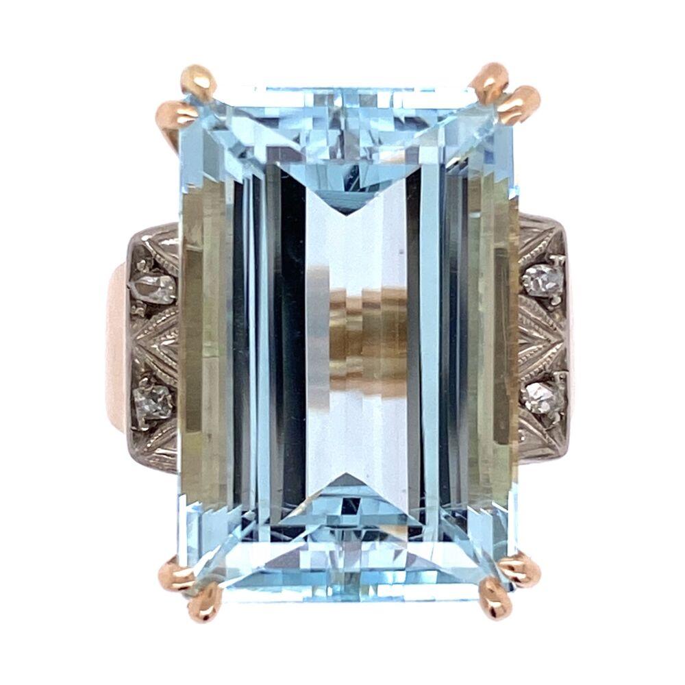 18K Rose Gold and Platinum Retro 13ct Emerald Cut Aquamarine Ring .05tw diamonds