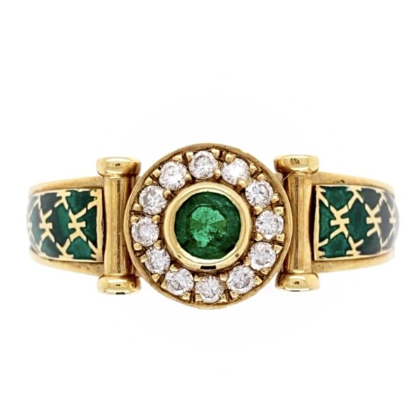 Closeup photo of 18k Yellow Gold French Emerald, Diamond and Enamel Ring
