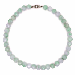 Closeup photo of Green Lavendar White Jade bead neck .25ct diamond clasp