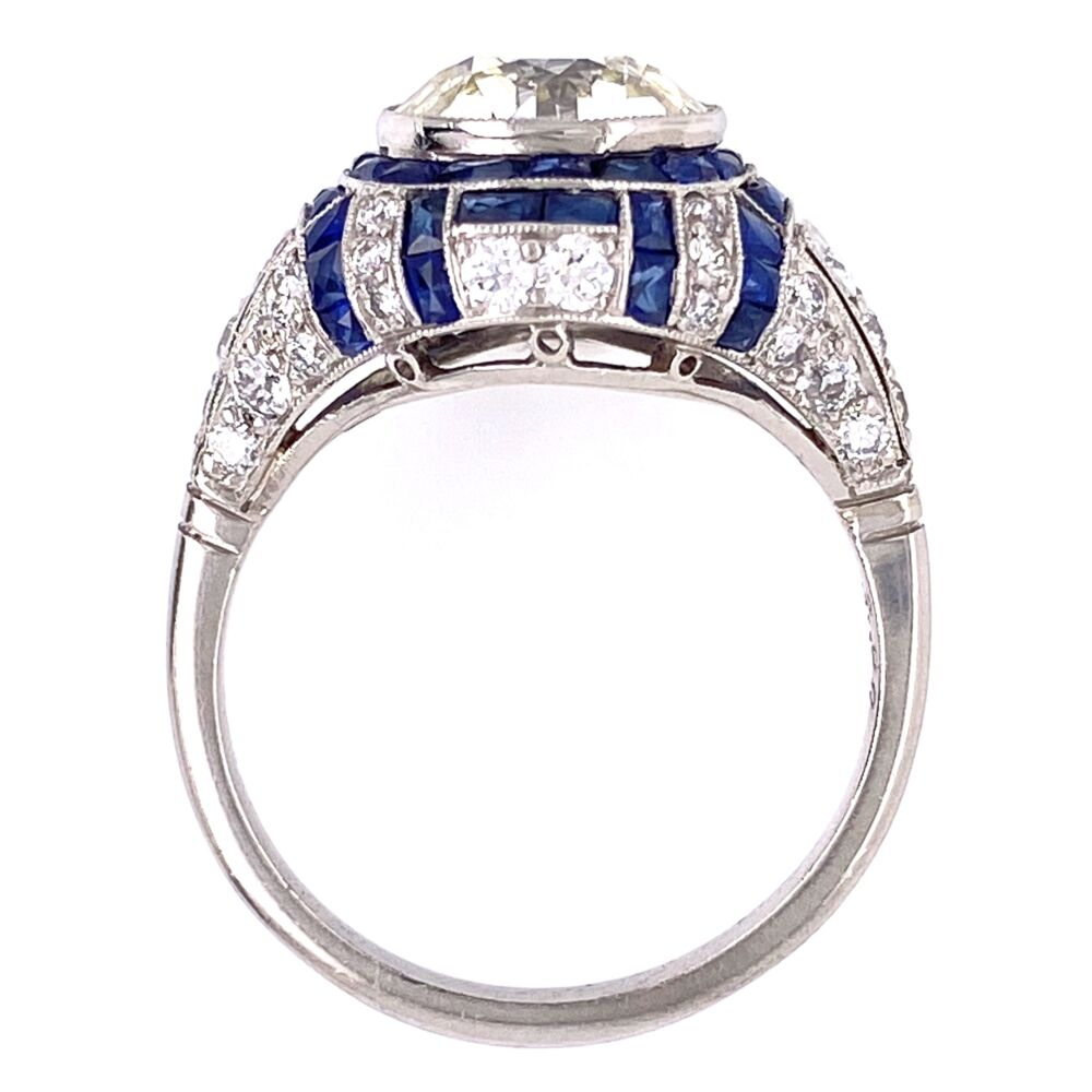 Image 2 for Platinum Art Deco 2.90 OEC Diamonds surrounded by .75tcw side diamonds and French cut sapphires