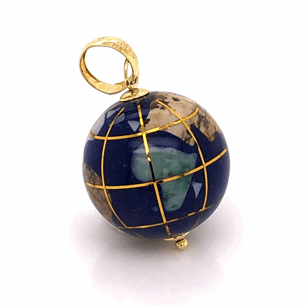 Image 3 for 14k Yellow Gold Gemstone Inlay Globe charm