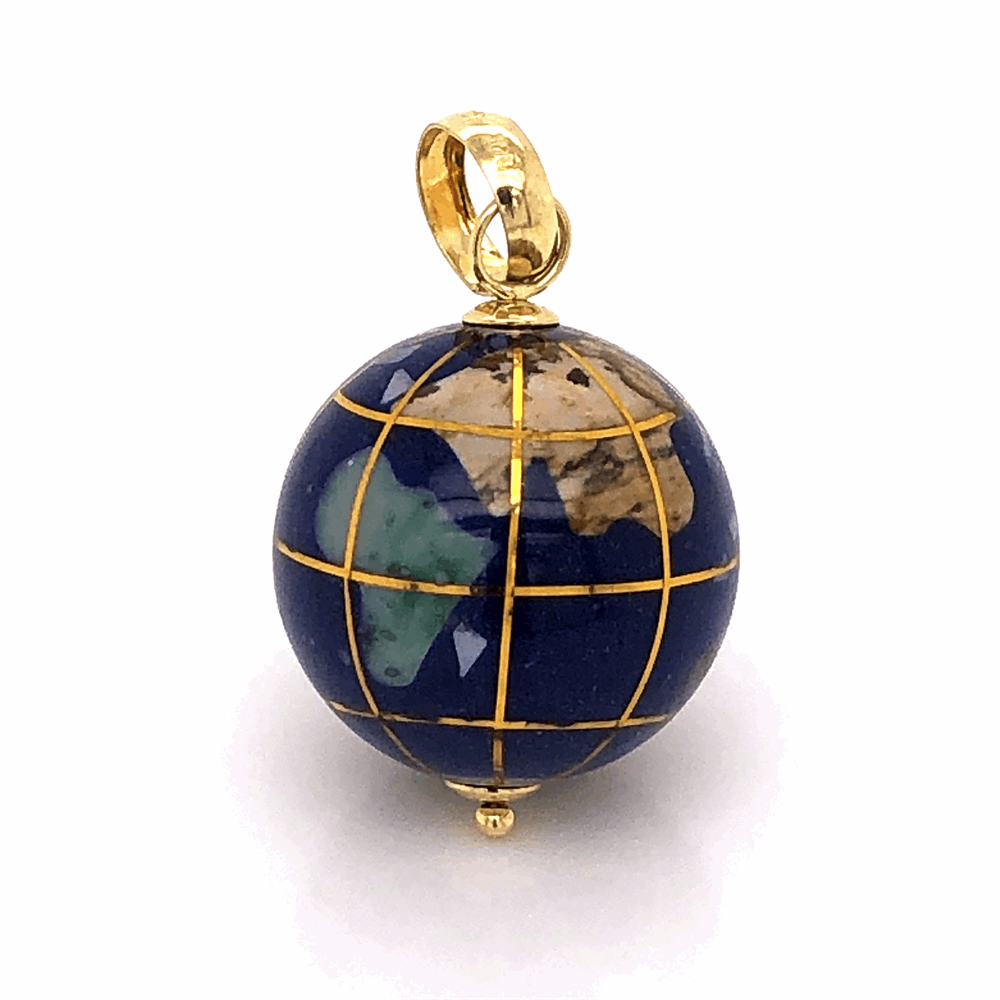14k Yellow Gold Gemstone Inlay Globe charm