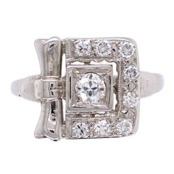 Closeup photo of 14K White Gold Retro Buckle Style Ring .50tcw diamonds 2.9g, s6.5