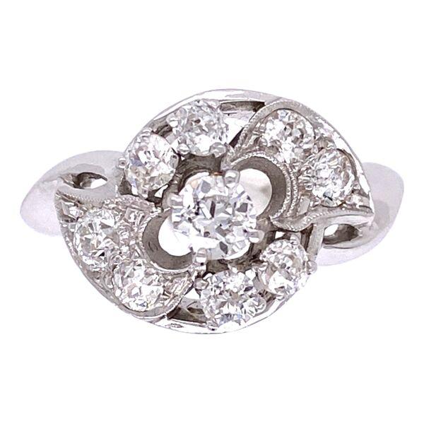 Closeup photo of 14K White Gold Diamond Cluster Ring .65tcw, c1960's, 3.9g, s6