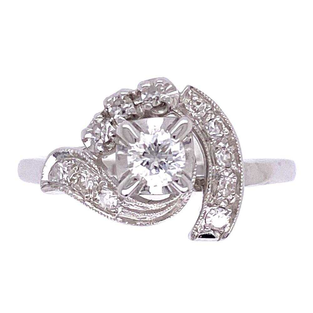 14K White Gold Deco Bypass Circle Ring .32tcw diamonds c1930's, 2.4g, s4.75