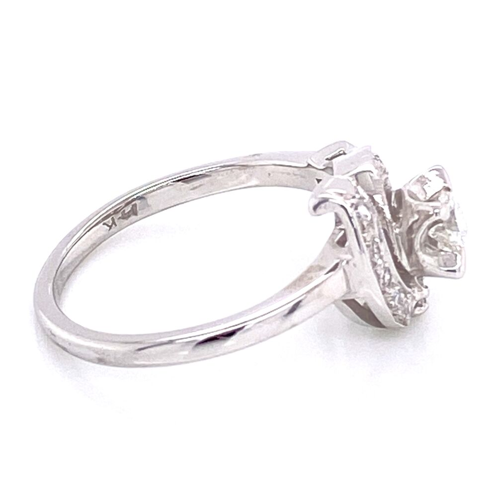 Image 2 for 14K White Gold Deco Bypass Circle Ring .32tcw diamonds c1930's, 2.4g, s4.75