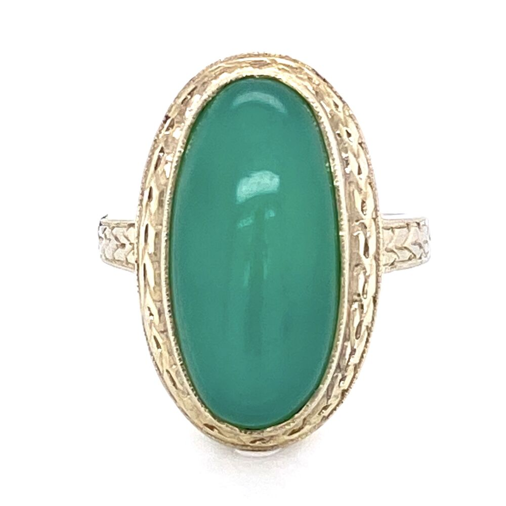 Image 2 for 18K White Gold Vintage Chrysoprase Ring with Engraving