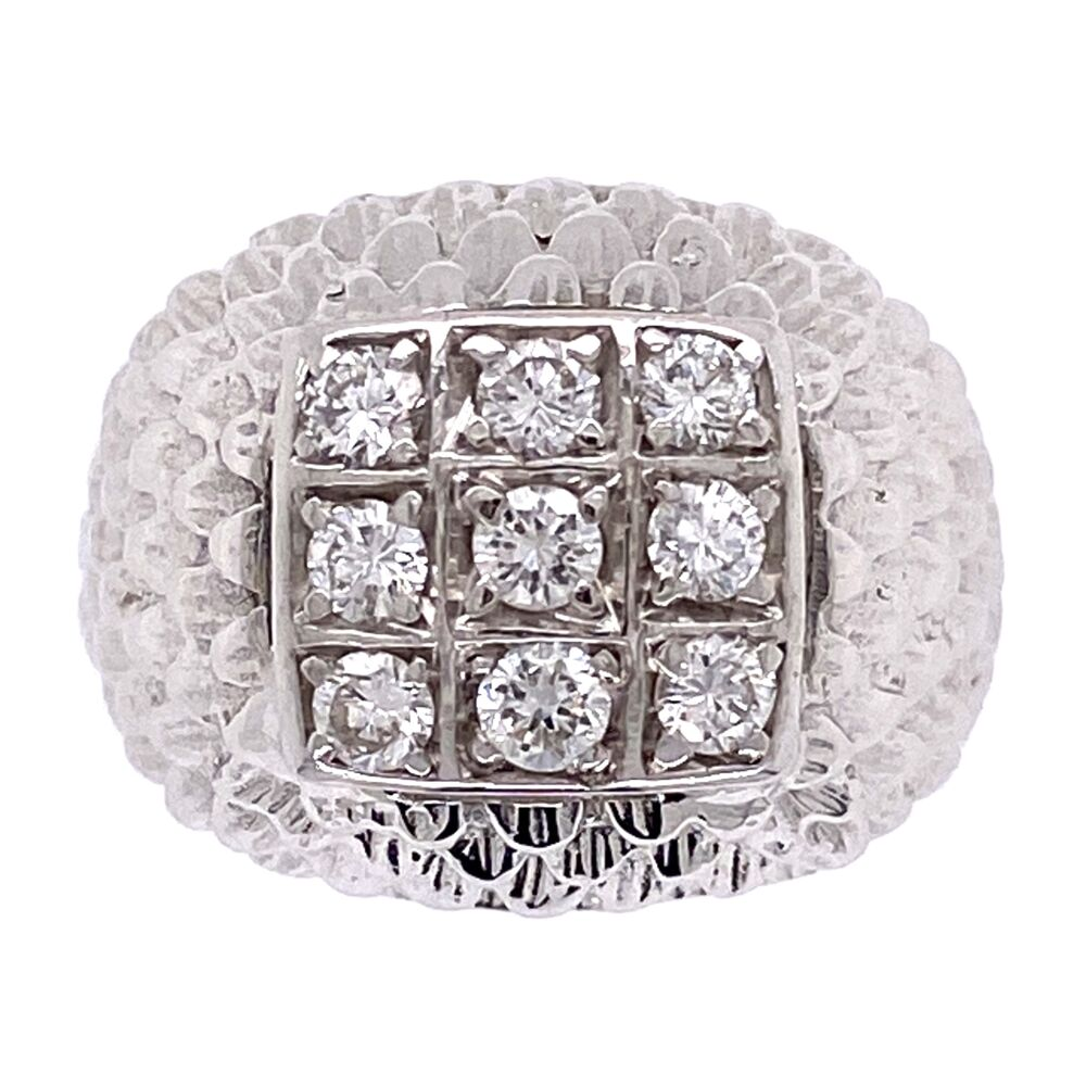 14K White Gold Domed Cluster Feathered Diamond Ring .30tcw, 6.9g, s6