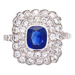 Closeup photo of Platinum Art Deco .75ct Cushion Sapphire & .80tcw diamond Ring, c1920, 4.0g, size 7.75