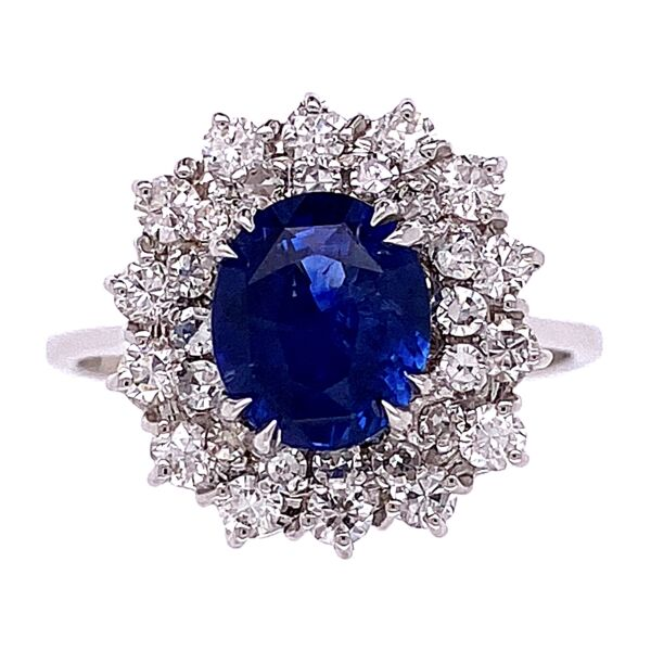 Closeup photo of 14K White Gold 2ct Natural Blue Sapphire Ring double halo diamonds 1.00tcw, 4.5g, s7