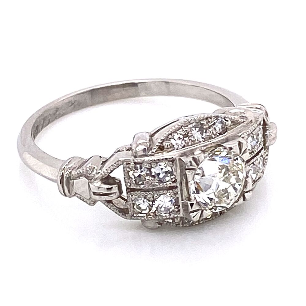 Image 2 for Platinum Art Deco Diamond Ring .64ct OEC Diamond & .22tw side dia, 5.7g, s6.75