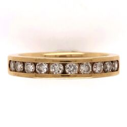 Closeup photo of 18K Yellow Gold Half Way Diamond Band RIng 10dia- .50tcw, 5.3g, size 6