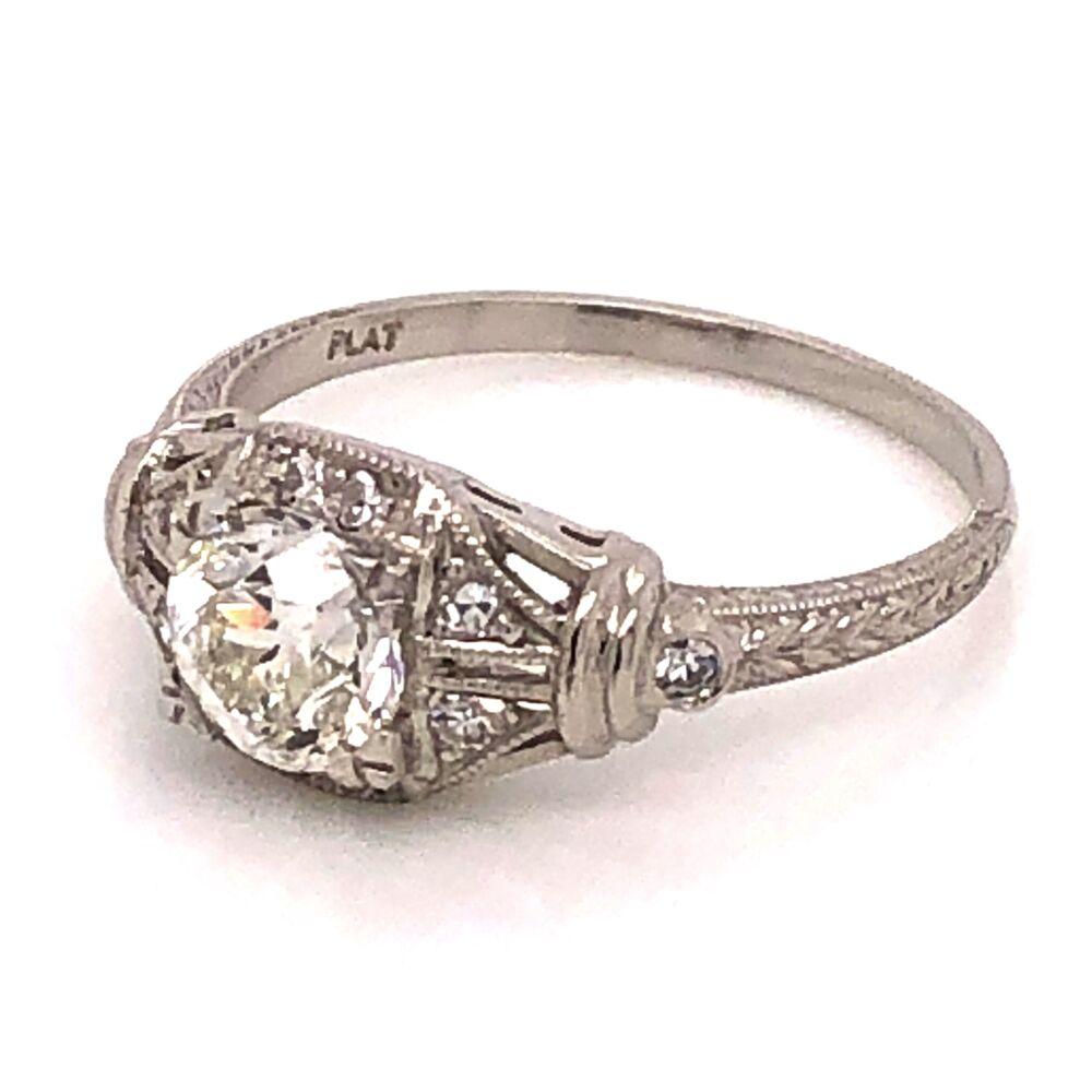 Image 2 for Platinum Art Deco Diamond Ring .90 OEC GIA# 2193121391, s6.75