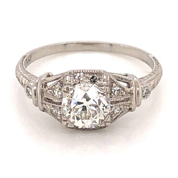 Closeup photo of Platinum Art Deco Diamond Ring .90 OEC GIA# 2193121391, s6.75