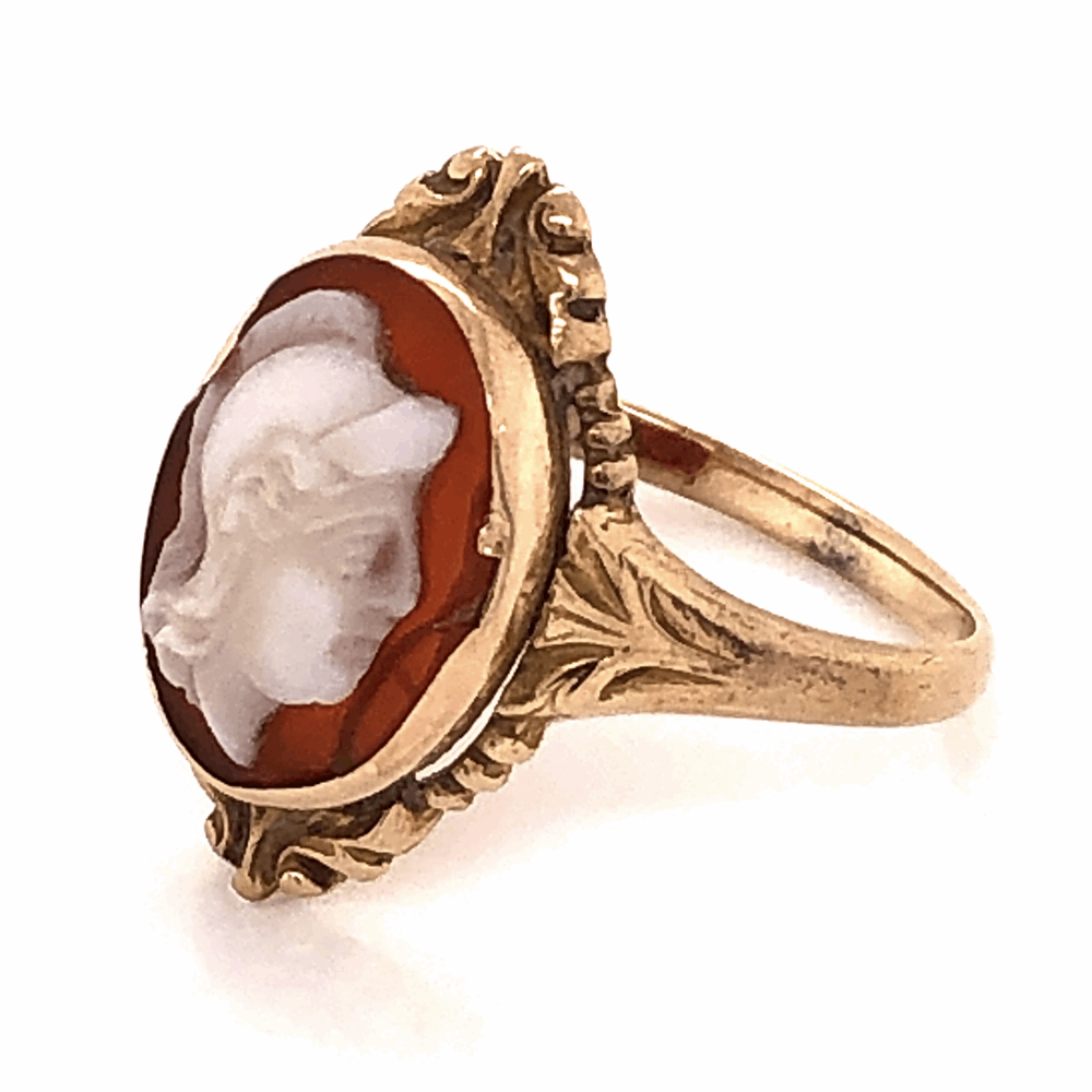 Image 2 for 9K Victorian Carved Shell Cameo Ring c1880's, 2.3g, s5.75