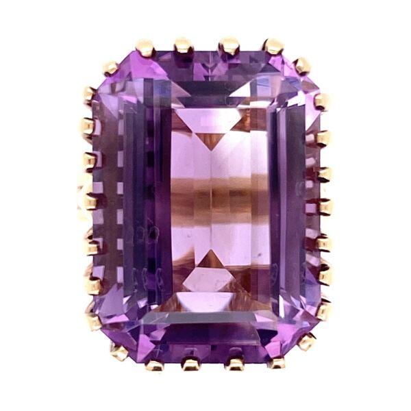 Closeup photo of 14K Yellow Gold 1960's Ring 18ct Emerald Cut Amethyst 26 prongs, 9.3g, s4