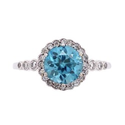 Closeup photo of 14K White Gold Pave Ring 1.80ct Round Blue Zircon & .17tcw Diamonds, s6.5