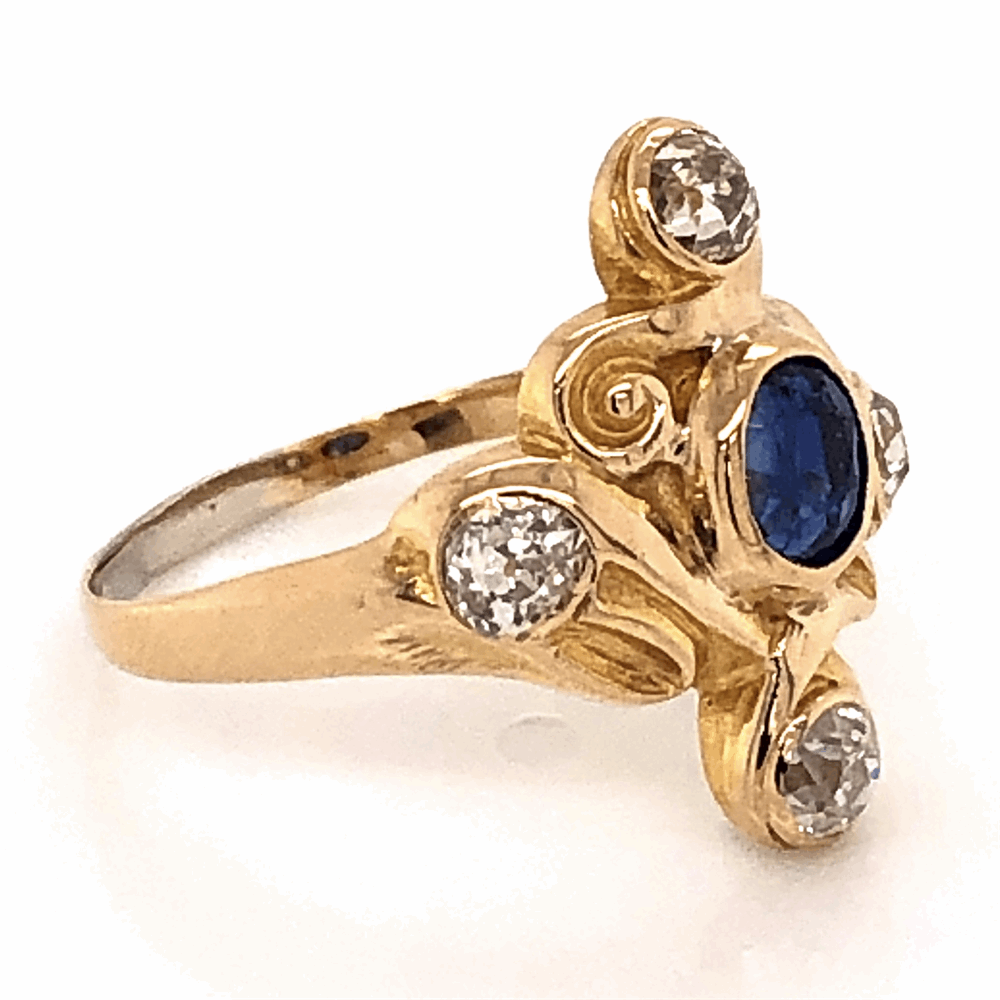 Image 2 for 14K Yellow Gold Victorian .30ct Sapphire Ring with 4 Old European Cut Diamonds .65tcw 3.2g, s5.5