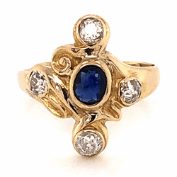 Closeup photo of 14K Yellow Gold Victorian .30ct Sapphire Ring with 4 Old European Cut Diamonds .65tcw 3.2g, s5.5