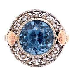 Closeup photo of 14K Gold Art Deco Ring w/ Blue Glass Stone, Seed Pearls, c1930,