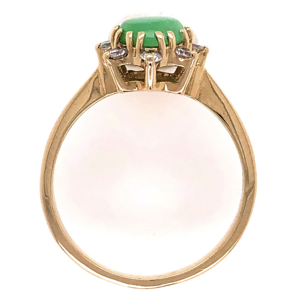 Image 2 for 14K Yellow Gold Jadeite Jade Cabochon Ring .20tcw Diamonds, s7.5