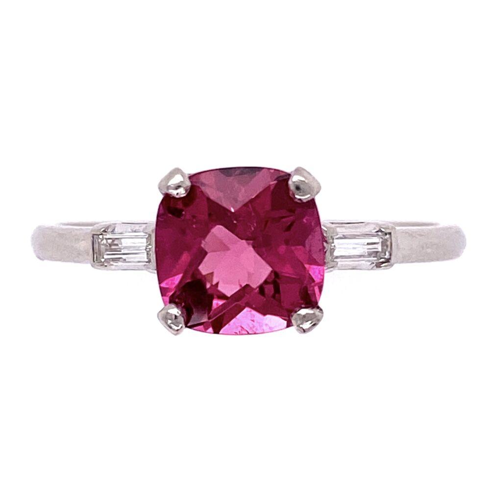 Platinum 1.53ct Cushion Pink Tourmaline with 2 Diamond .20tcw 4.1g, s8.5