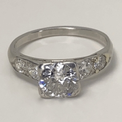 Closeup photo of Platinum Art Deco 1.10ct OEC Diamond Ring w/ .25tw side diamonds, c1930, s7