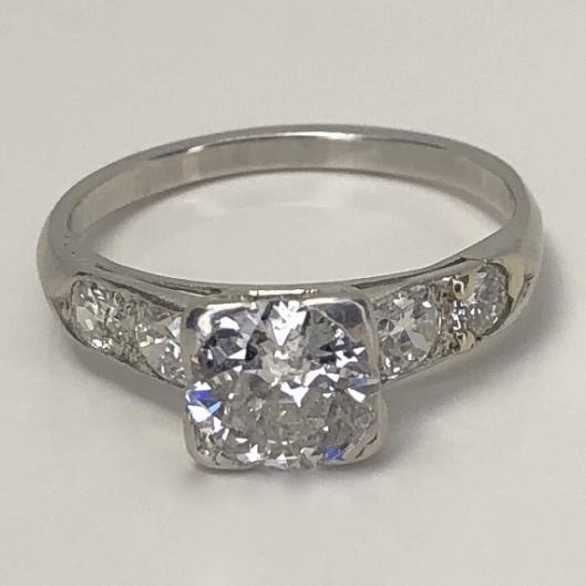 Closeup photo of Platinum Art Deco 1.10ct OEC Diamond Ring w/ .25tw side diamonds, c1930, s7