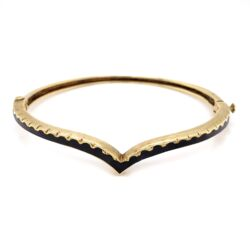 Closeup photo of 14K Yellow Gold Victorian Curved Black Enamel Bangle Bracelet, 15.1g