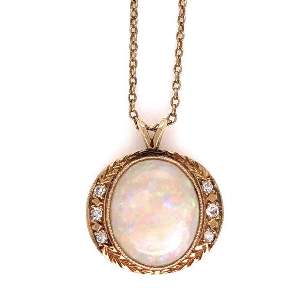 "Closeup photo of 14K Yellow Gold 5.50ct white Australian Opal Pendant with .14tcw Diamonds, 16"""