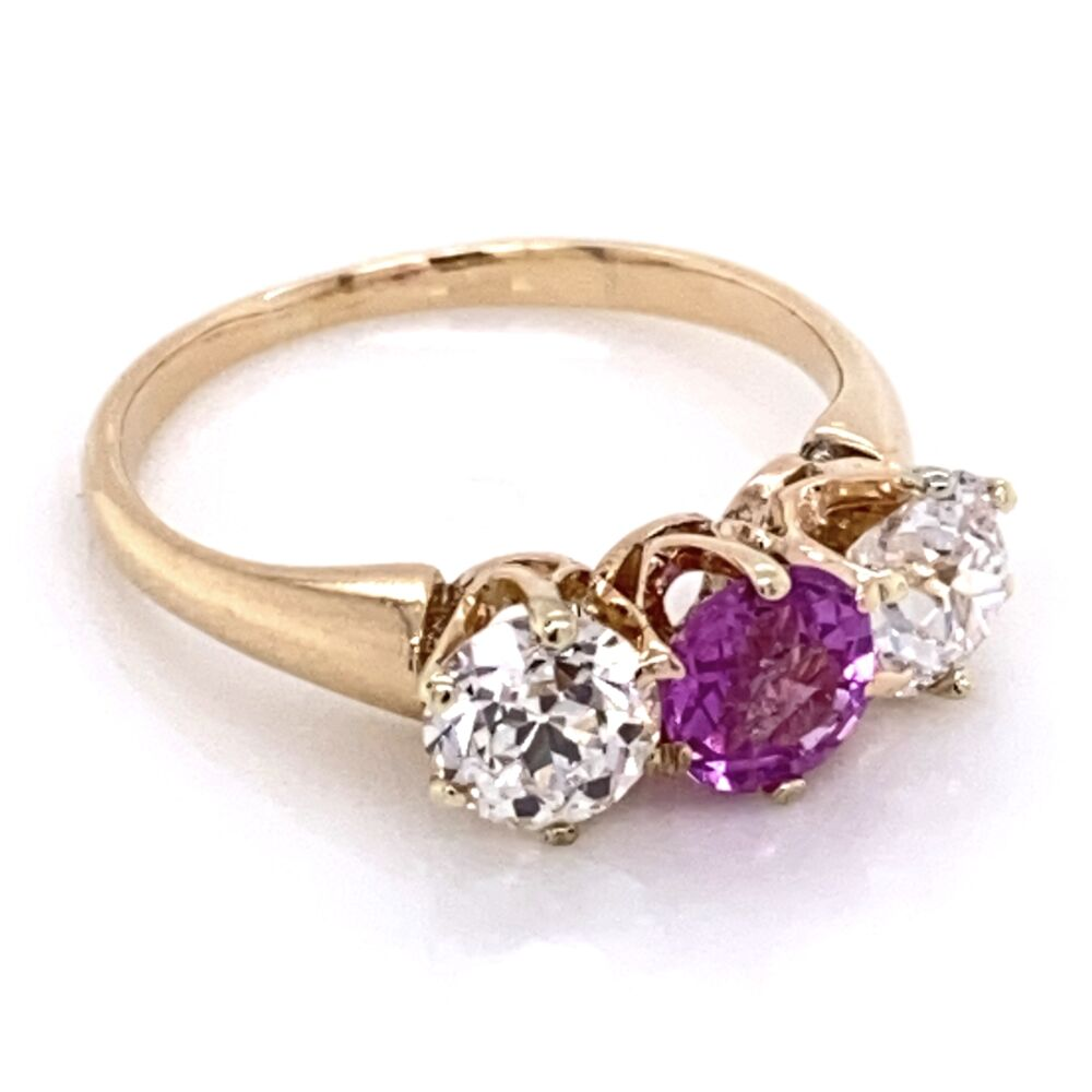 Image 2 for 14K Rose Gold VIctorian 3 stone Ring, 1 Pink Sapphire .50ct & 2 OEC Diamonds .90tcw, s5.5