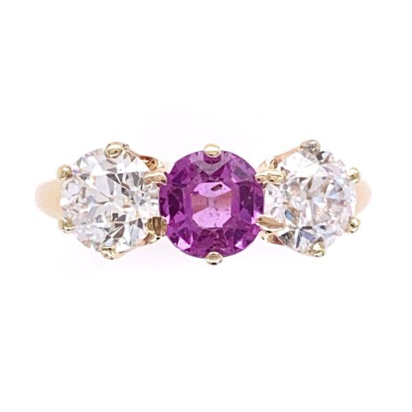 Closeup photo of 14K Rose Gold VIctorian 3 stone Ring, 1 Pink Sapphire .50ct & 2 OEC Diamonds .90tcw, s5.5