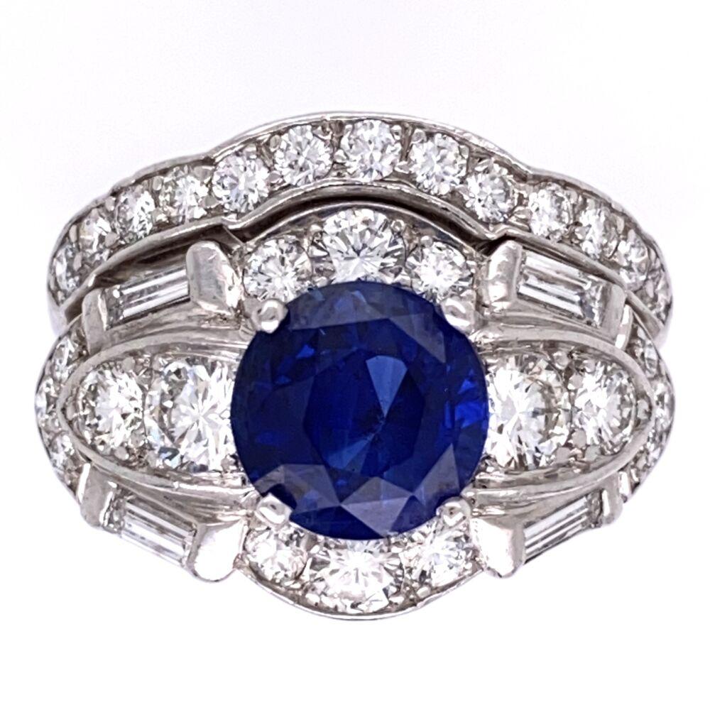 Platinum Art Deco Ring Set 2.57ct Round Blue Sapphire & 1.80tw OEC Diamonds, s6.5