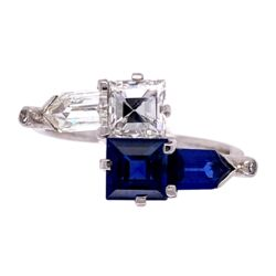 Closeup photo of Platinum 2tcw Sapphire & .96ct and .72ct Diamond Bypass Art Deco Ring, c1930's, s8