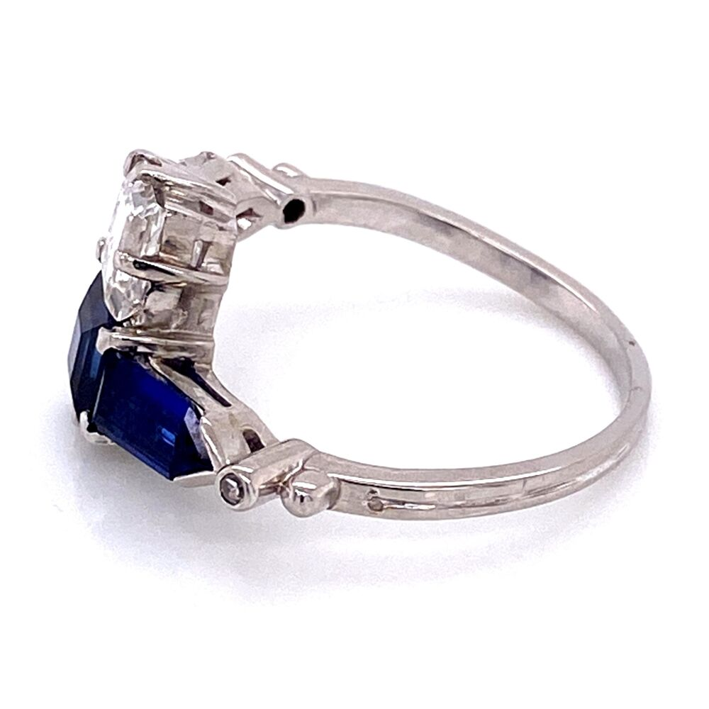 Image 2 for Platinum 2tcw Sapphire & .96ct and .72ct Diamond Bypass Art Deco Ring, c1930's, s8