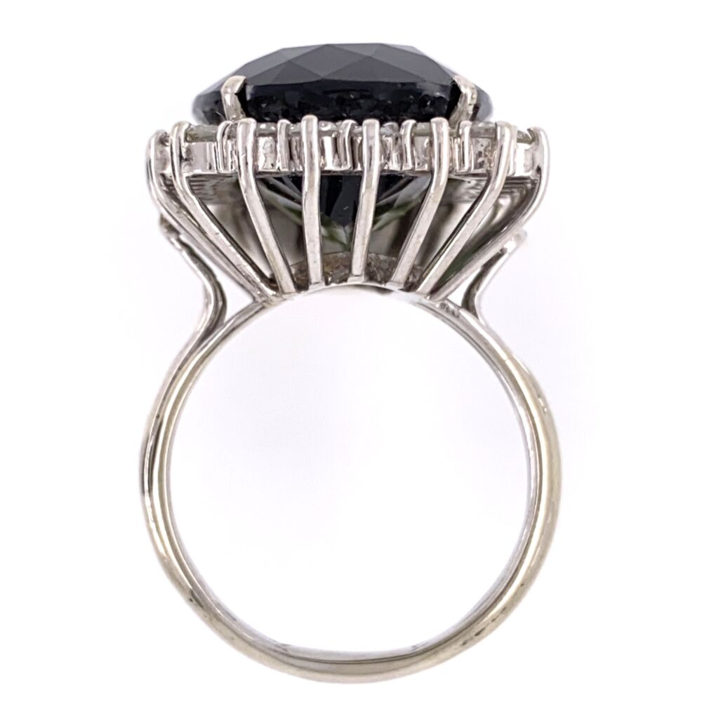 Image 2 for 14K White Gold 18.63ct Green Tourmaline Ring with 1.70tcw Diamonds, c1960's, s7.5
