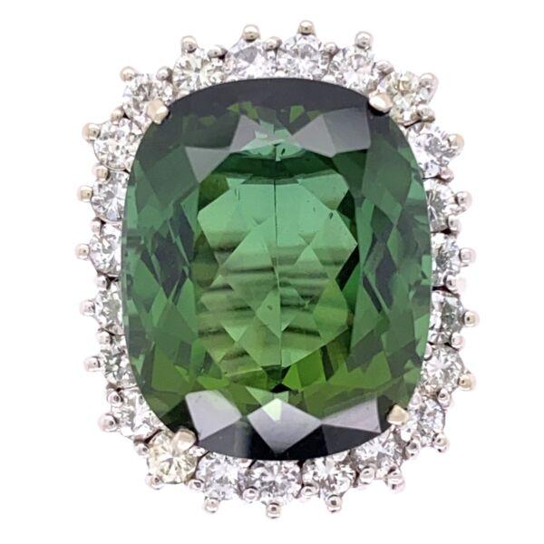 Closeup photo of 14K White Gold 18.63ct Green Tourmaline Ring with 1.70tcw Diamonds, c1960's, s7.5