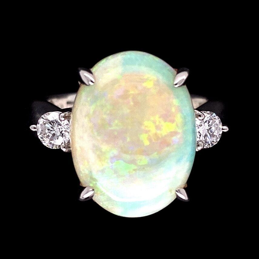 Image 2 for Platinum 6.34ct White Australian Opal & .34tcw diamond Ring, s7